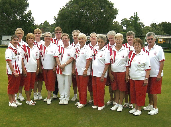 Karingal Ladies Lawn Bowls Uniform in Club Colours - Domino for mens and womens coloured bowls clothes